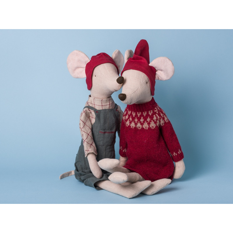 Maileg Maus Weihnachten Maxi Mädchen Junge Kleid rot Hose grau Kuscheltier Stofftier 56cm