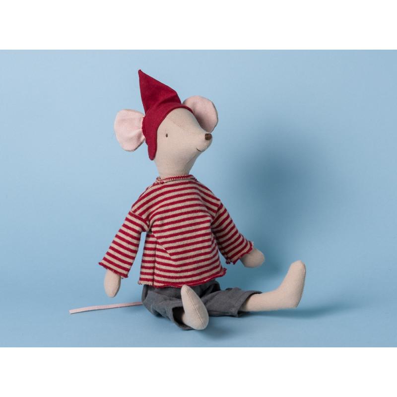 Maileg Maus Weihnachten Medium Boy Junge mit rot gestreiftem Hemd Kuscheltier Stofftier 37cm