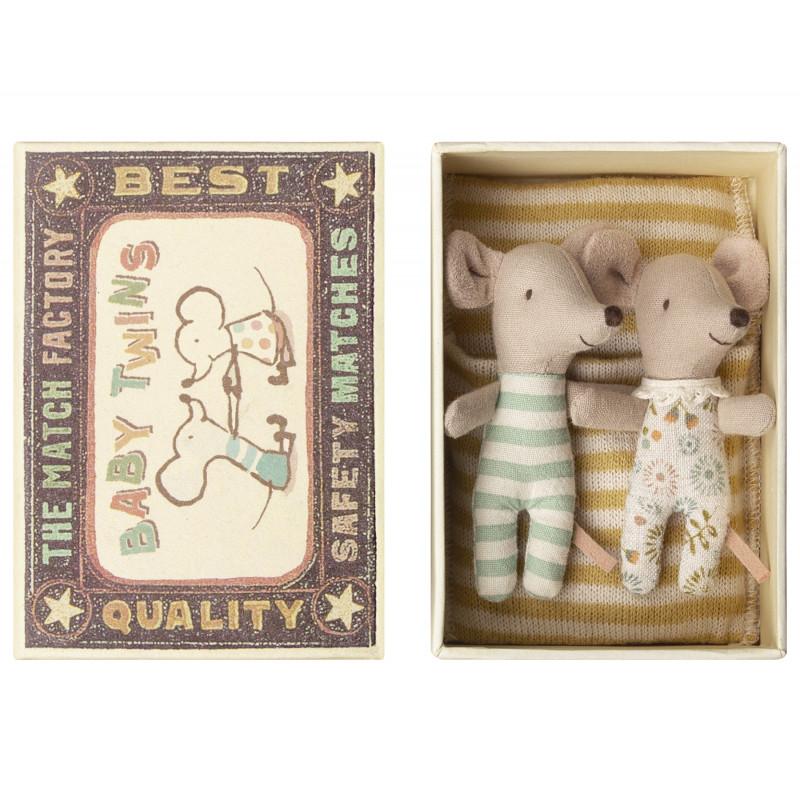 Maileg Maus Zwillinge in Box mit gelb gestreifter Decke Geschwister Mäuse
