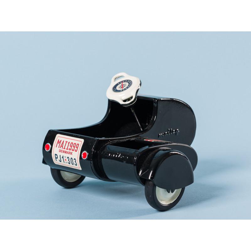 Maileg Motorrad mit Beiwagen schwarz lackiert aus Metall ca 9 cm Heckansicht mit Nummernschild