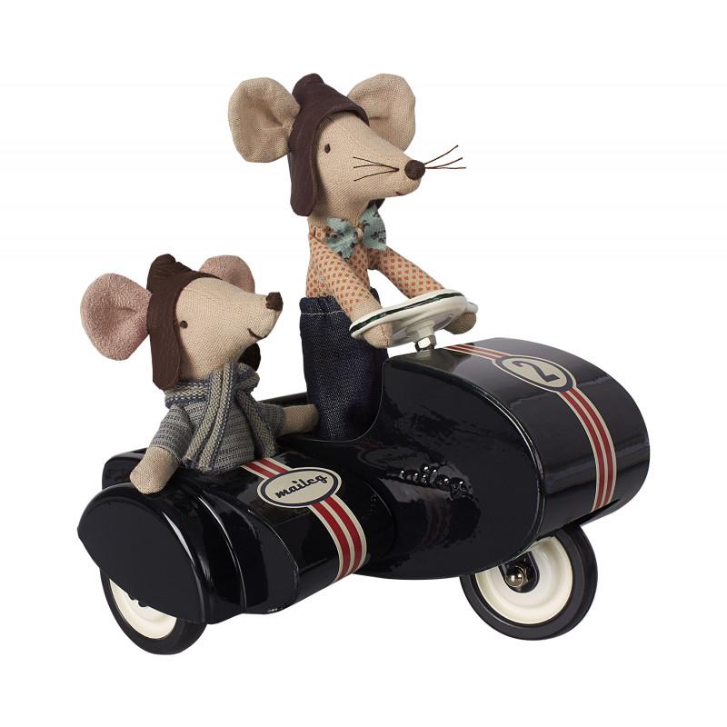 Maileg Motorrad mit Beiwagen schwarz Spielzeug aus Metall mit Racer Mouse