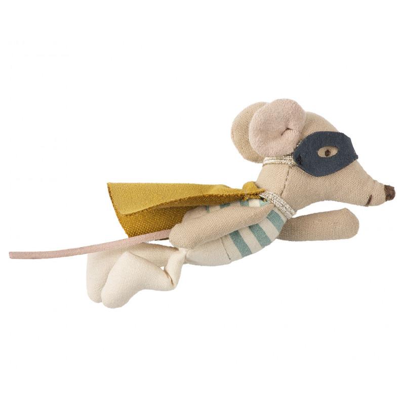 Maileg Mouse Superhero kleiner Bruder im Koffer 10 cm groß