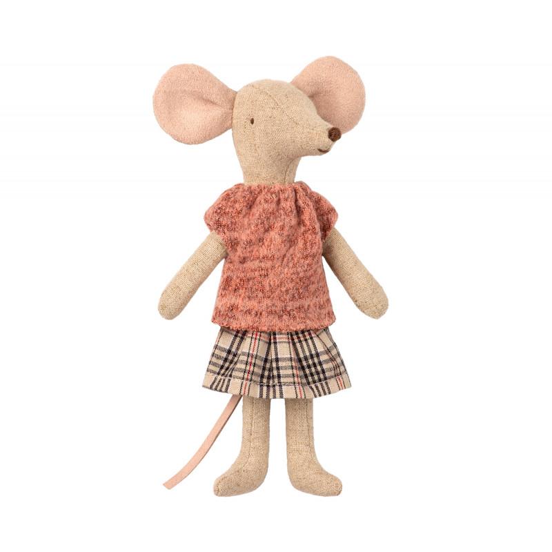 Maileg Mum Mouse Mama Maus im Pullover und kariertem Rock Kuscheltier Größe 15 cm
