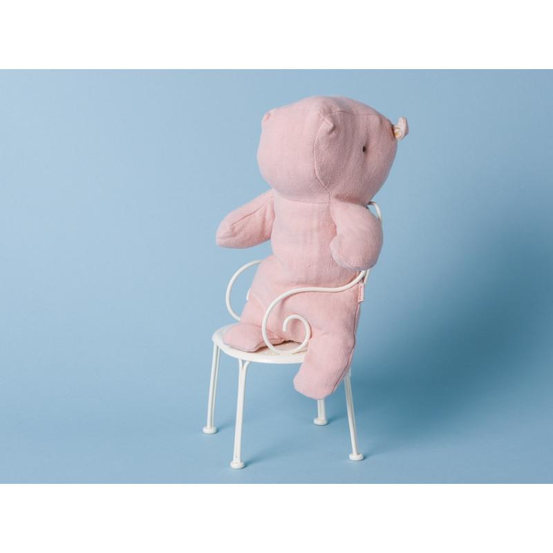 Maileg Nilpferd Little Hippo rosa Kuscheltier Safari Friends Stofftier Stuhl