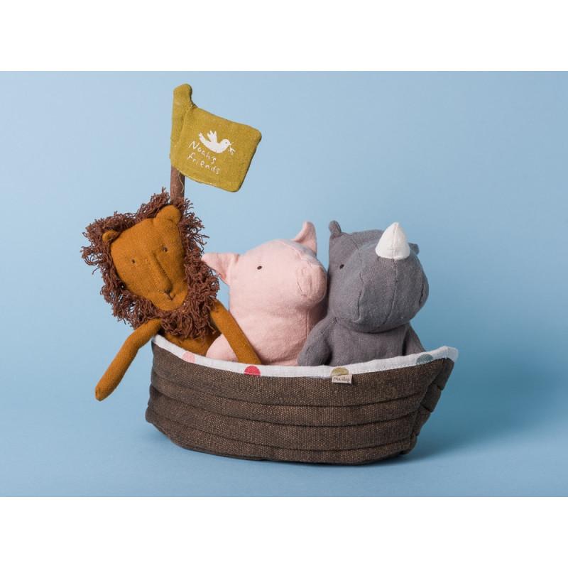 Maileg Noahs Arche Set 4er Set Kuscheltier mit Löwe Schwein Rhino
