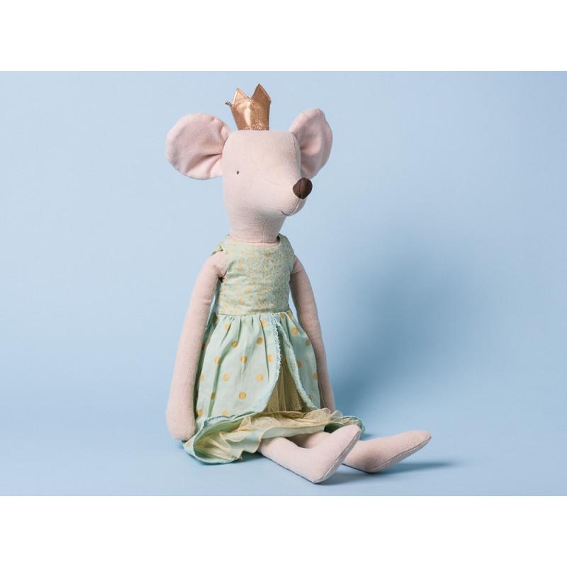 Maileg Prinzessin Maus im Kleid grün und mit goldener Krone Maxi Size 50 cm groß