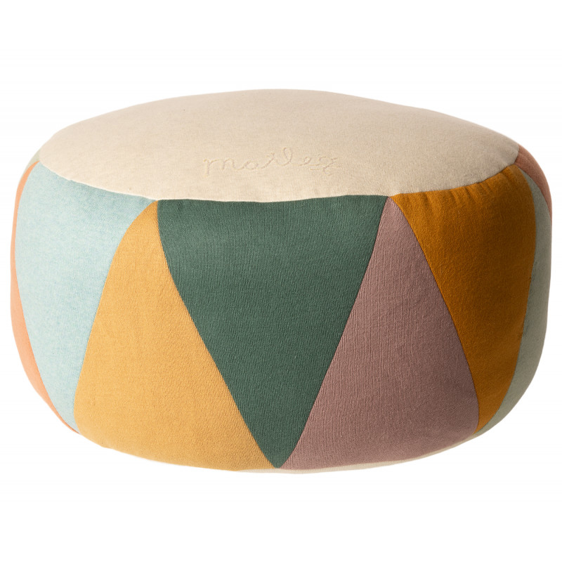 Maileg Puff Large Drum Multi Natur Sitzpuff mehrfarbig für Kinder Öko Tex Baumwolle Trommel Pouf 24 x 43 cm groß