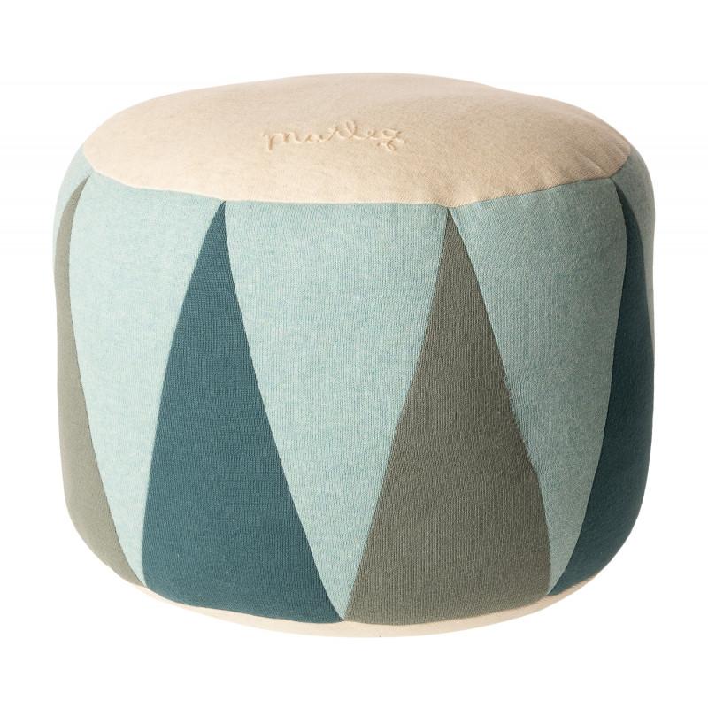 Maileg Puff Medium Drum Mint Grün Natur Sitzpuff für Kinder Öko Tex Baumwolle Trommel Pouf 24x30 cm