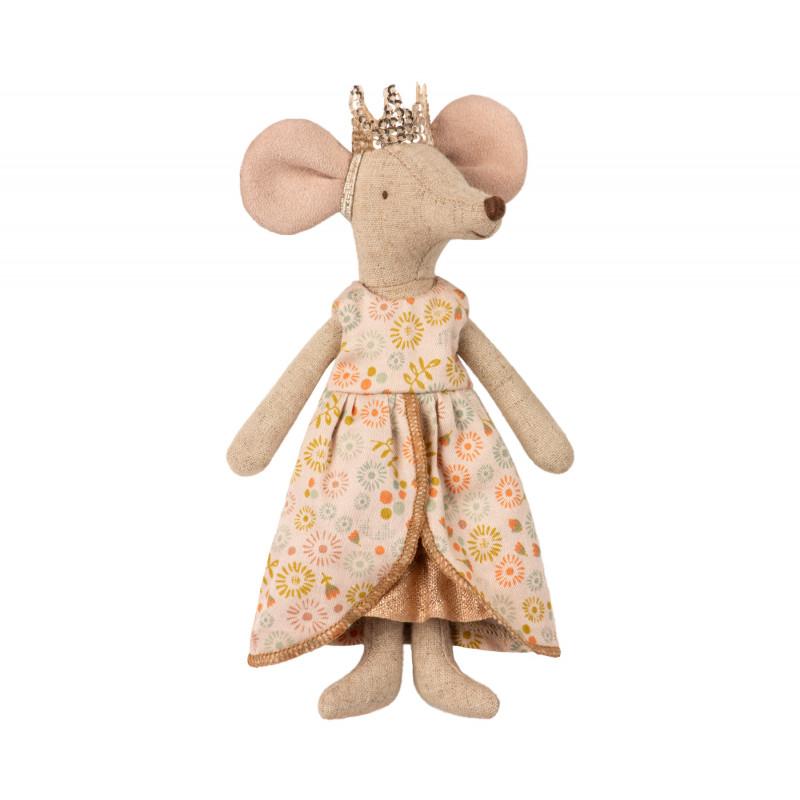 Maileg Queen Mom Mouse Königin Maus im Kleid und mit goldener Krone Kuscheltier Größe 15 cm