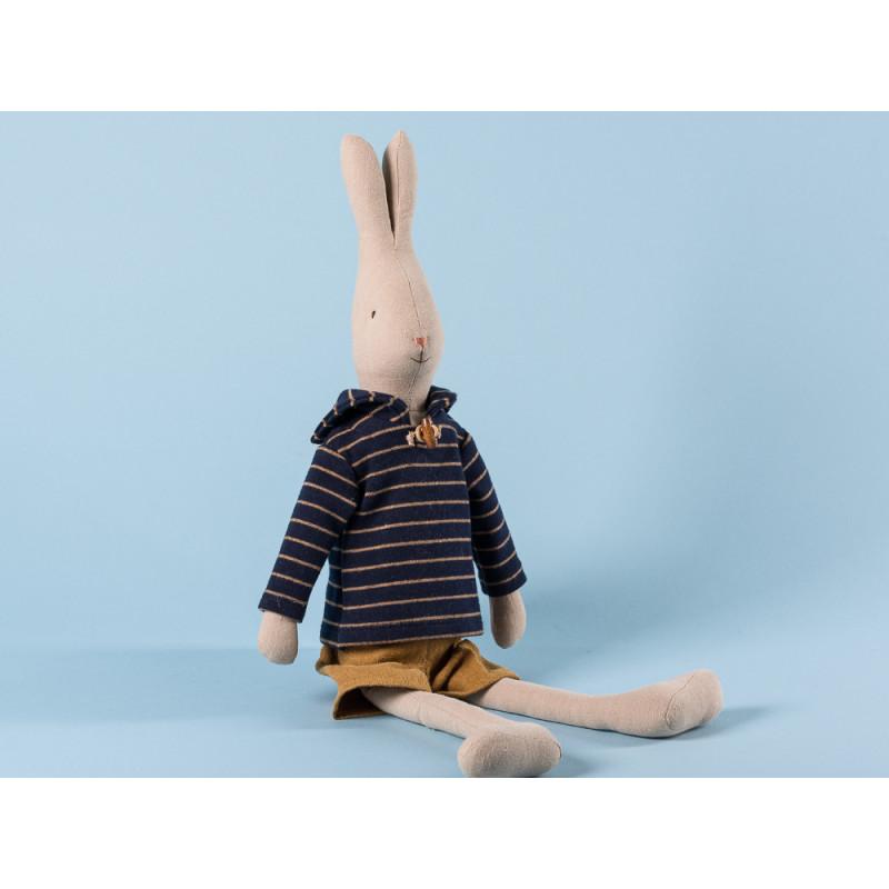 Maileg Rabbit Sailor Size 3 im blauen Seemann Shirt gestreift und gelbe Hose Hase Maritim 49 cm groß zum Sammeln und schenken
