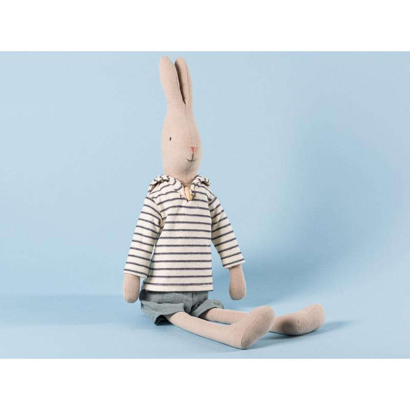 Maileg Rabbit Sailor Size 3 im weißen Seemann Shirt gestreift und grauer Hose Hase Maritim 49 cm groß zum Sammeln und schenken