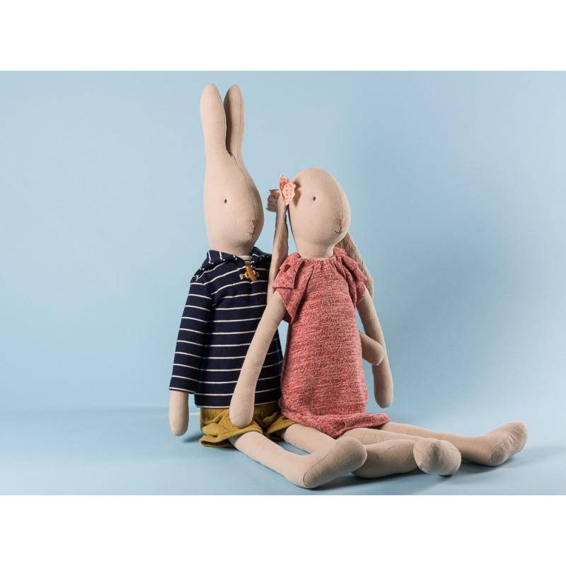 Maileg Rabbit und Bunny Size 5 im gestricktem Kleid und Seeman Outfit zum Sammeln und schenken