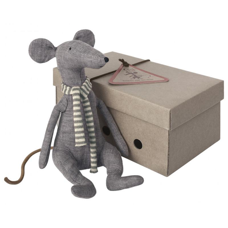 Maileg Ratte Cool Rat blau mit blauem Schal in Geschenkbox