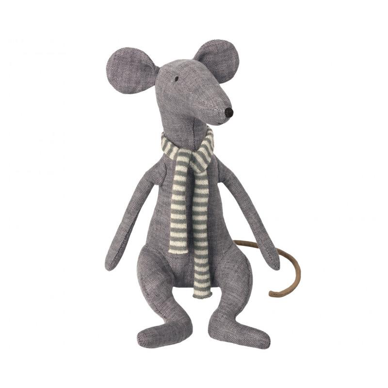 Maileg Ratte Cool Rat blau Schal mit Streifen in blau weiß