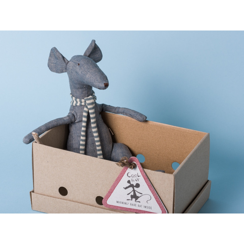 Maileg Ratte Cool Rat grau Schal blau Geschenkbox Schachtel Box