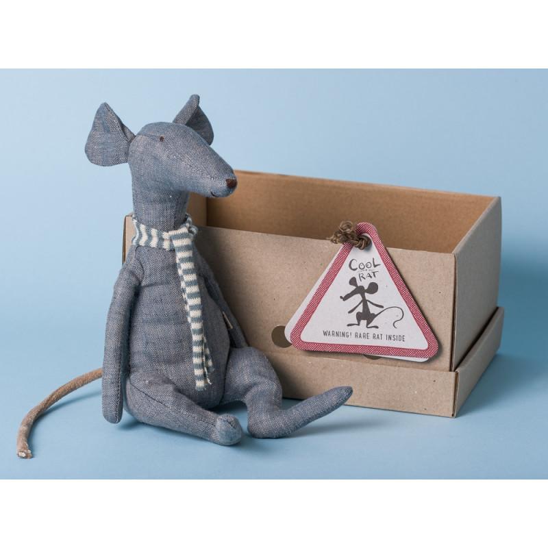 Maileg Ratte Cool Rat grau Schal mit Streifen blau Geschenkbox