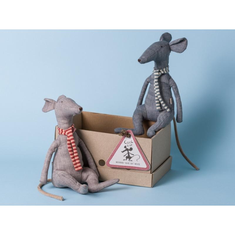 Maileg Ratte Cool Rat grau Schal rot blau Geschenkbox Gruppe