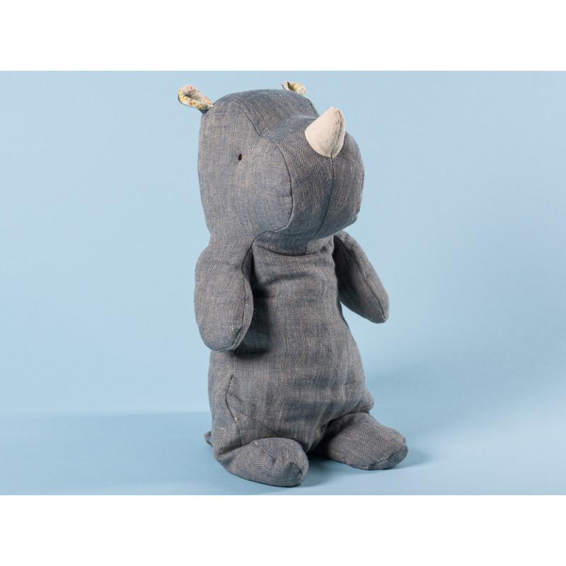 Maileg Rhino blau medium Safari Friends Nashorn 30 cm hoch Kuscheltier Geschenkidee zum Sammeln