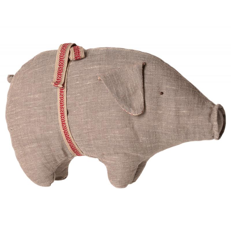 Maileg Schwein grau klein aus Leinen Kuscheltier Glücksbringer