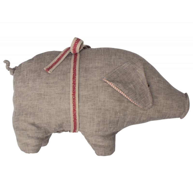 Maileg Schwein grau medium aus Leinen Glücksschwein Kuscheltier 20 cm groß
