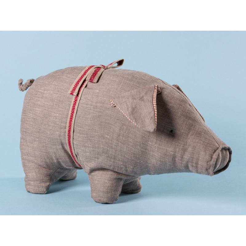 Maileg Schwein Grau medium aus Leinen Glücksschwein Kuscheltier Glücksbringer Geschenk 20 cm groß