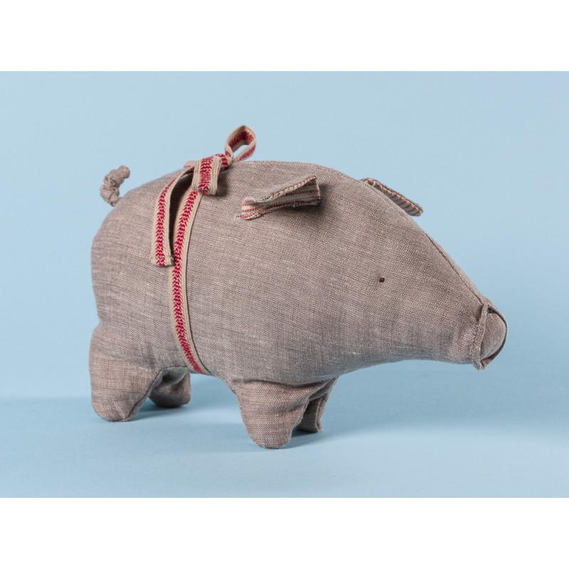 Maileg Schwein Grau small aus Leinen Glücksschwein Kuscheltier Glücksbringer Geschenk 14 cm klein