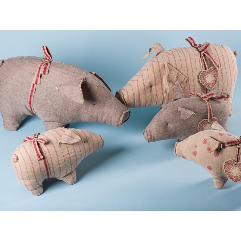 Maileg Schwein klein und Groß aus Leinen Glücksschwein Kuscheltier Glücksbringer Geschenk Gruppe Familie