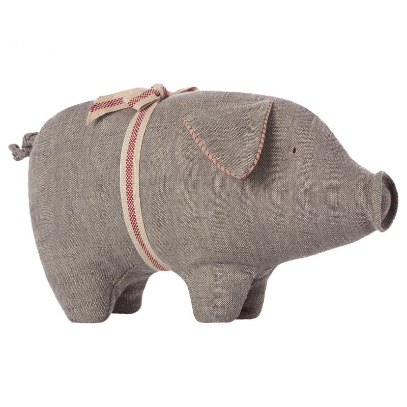 Maileg Schwein Medium grau aus Leinen  23 cm groß