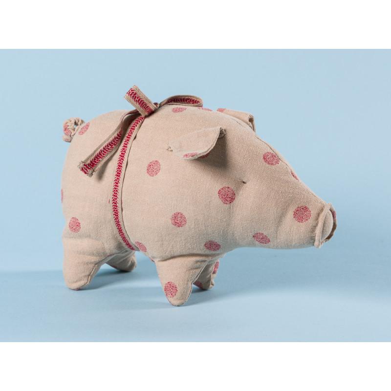 Maileg Schwein mit Punkten small aus Leinen Glücksschwein puder rot mit roten Punkten Kuscheltier Glücksbringer Geschenk 14 cm klein