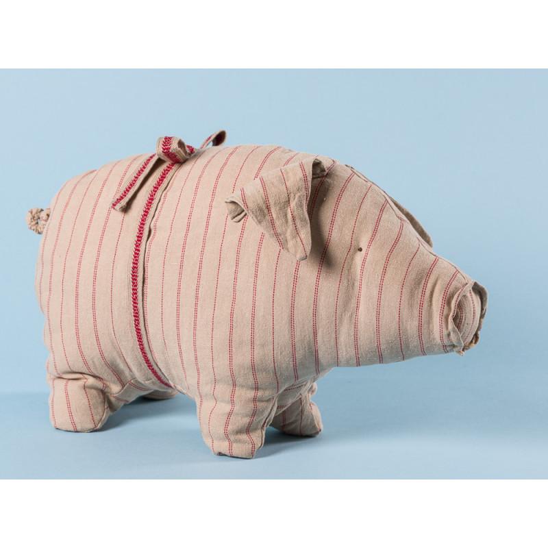 Maileg Schwein mit Streifen medium aus Leinen Glücksschwein puder rot gestreift Kuscheltier Glücksbringer Geschenk 20 cm groß