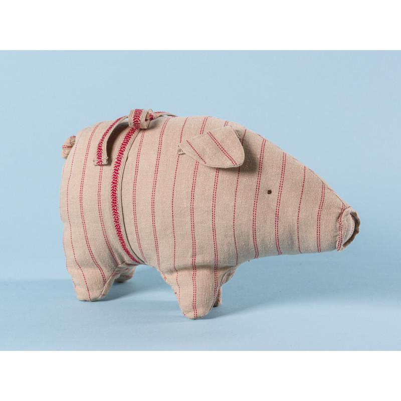 Maileg Schwein mit Streifen small aus Leinen Glücksschwein puder rot gestreift Kuscheltier Glücksbringer Geschenk 14 cm klein