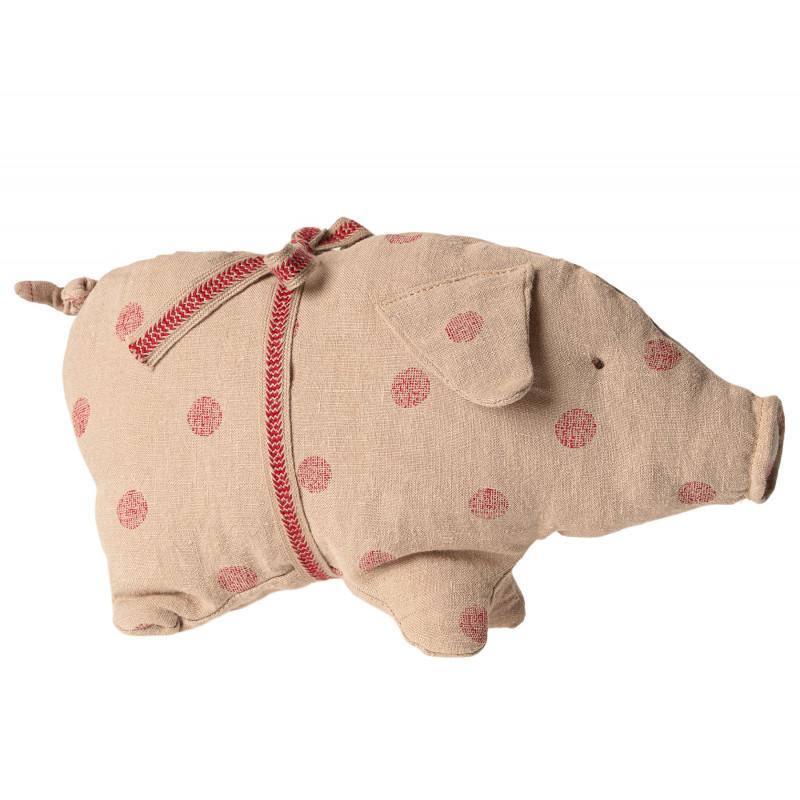 Maileg Schwein mit Punkten klein aus Leinen Glücksschwein puder Punkte rot Kuscheltier Glücksbringer