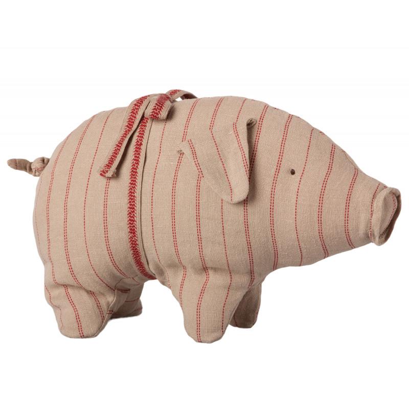 Maileg Schwein mit Streifen klein aus Leinen Glücksschwein puder rot gestreift Kuscheltier Glücksbringer