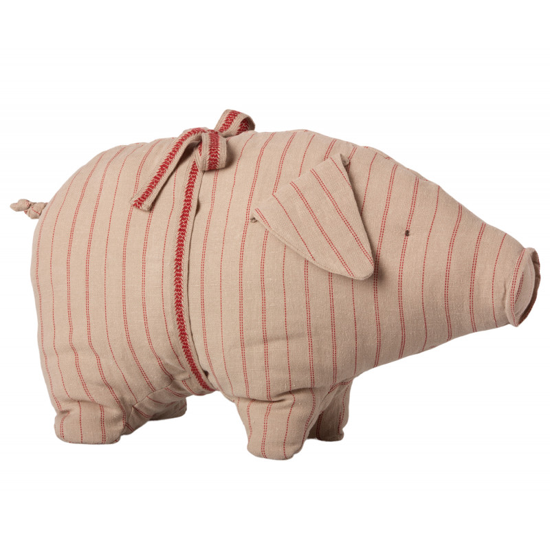 Maileg Schwein mit Streifen medium size aus Leinen Glücksschwein puder rot gestreift Kuscheltier Glücksbringer 20 cm groß