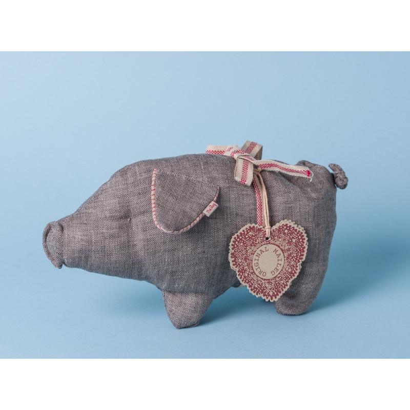 Maileg Schwein Schweinchen klein grau Leinen Kuscheltier
