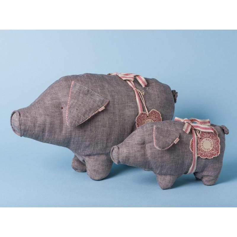 Maileg Schwein Schweinchen Medium klein grau Leinen Kuscheltier