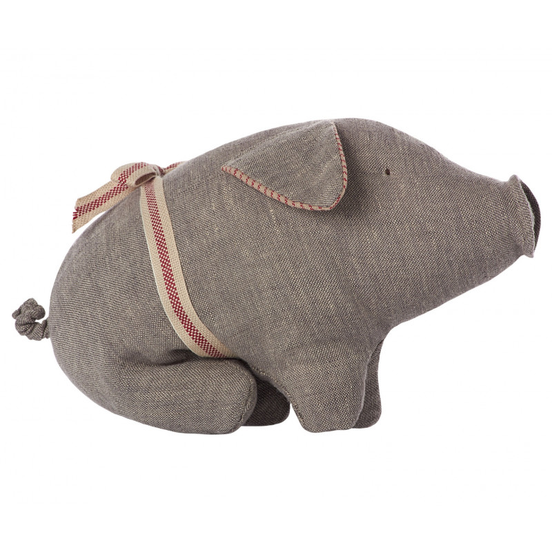 Maileg Schweinchen grau aus Leinen Little Pig 14 cm groß
