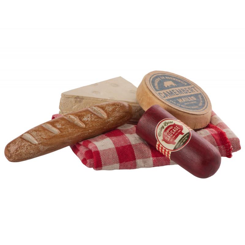 Maileg Vintage Picknick Set mit Picknickdecke Salami Käse und Baguette