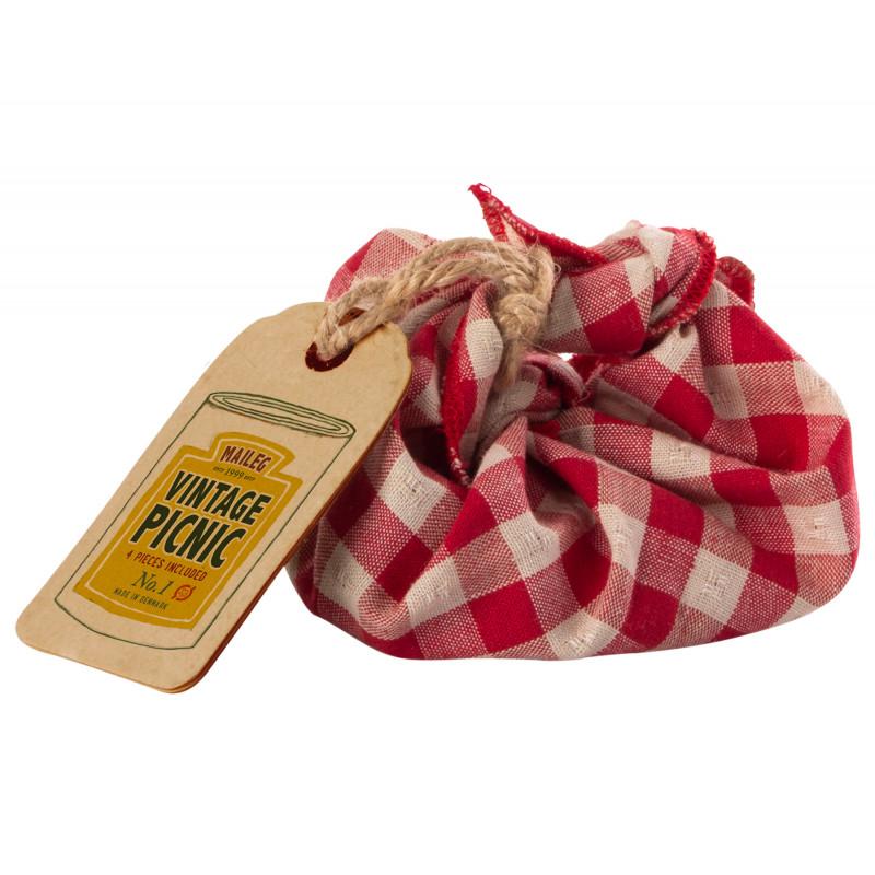 Maileg Vintage Picnic Set mit rot weiß karierter Picknickdecke Salami Käse und Baguette