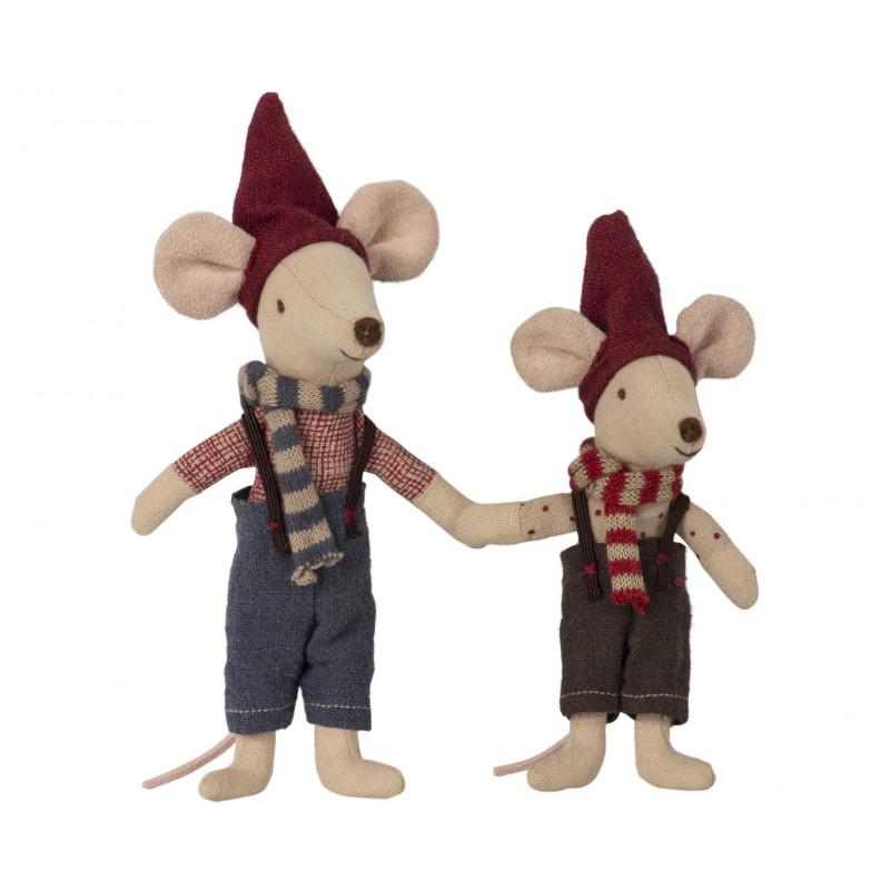 Maileg Weihnachten zwei Mäuse in Geschenkbox in Buch form 12 cm