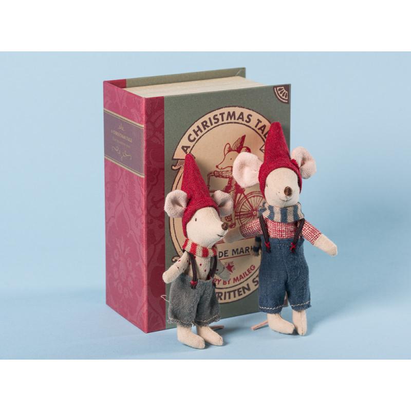 Maileg Weihnachten zwei Mäuse in Geschenkbox in Buch form getarnt 12 cm hoch Geschenk Weihnachtsdeko