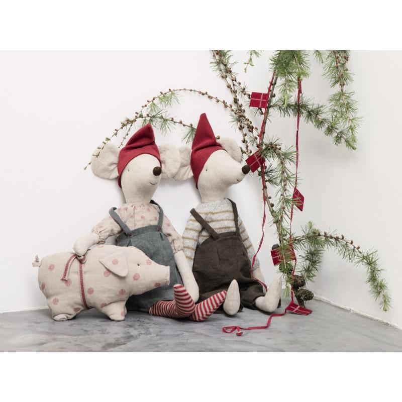 Maileg Weihnachtsmaus Maxi Girl und Maxi Boy Schwein mit Punkten Junge und Mädchen Dekoration Weihnachten