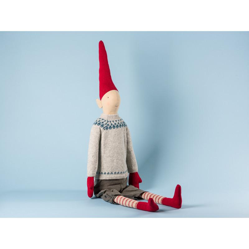 Maileg Wichtel Henry Mega Pixy Junge im grauen Strick Pullover mit blauem Muster und Hose XXL Kuscheltier Weihnachtsdekoration 100 cm