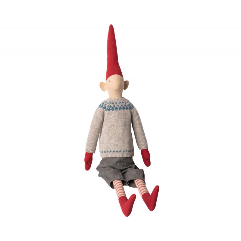Maileg Wichtel Henry Mega Pixy Junge im grauen Strick Pullover mit blauem Muster XXL Kuscheltier 100 cm