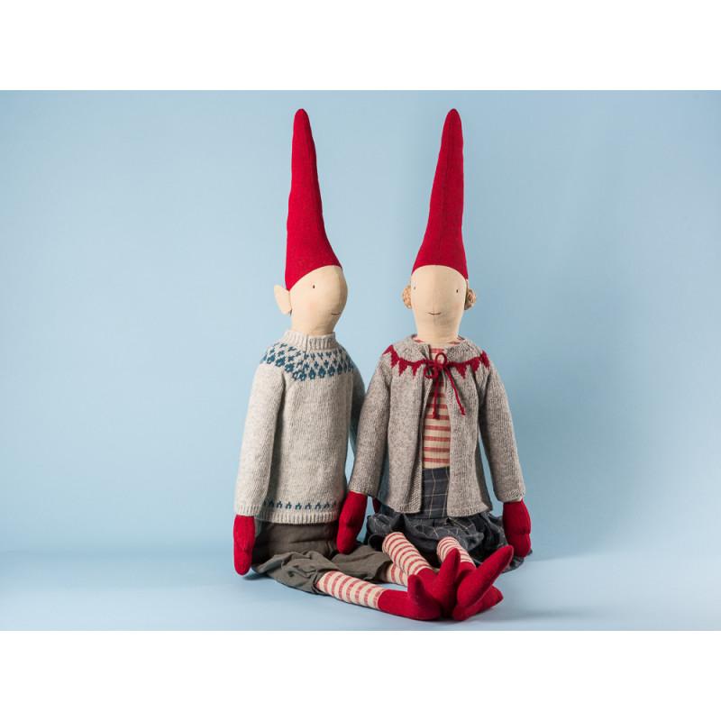 Maileg Wichtel Henry und Helen Mega Pixy Junge und Mädchen XXL Kuscheltier Weihnachtsdekoration 100 cm