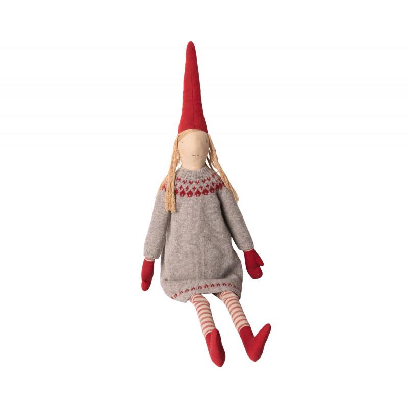 Maileg Wichtel Holga Mega Pixy Mädchen im Strick Kleid in grau mit rotem Muster 100 cm