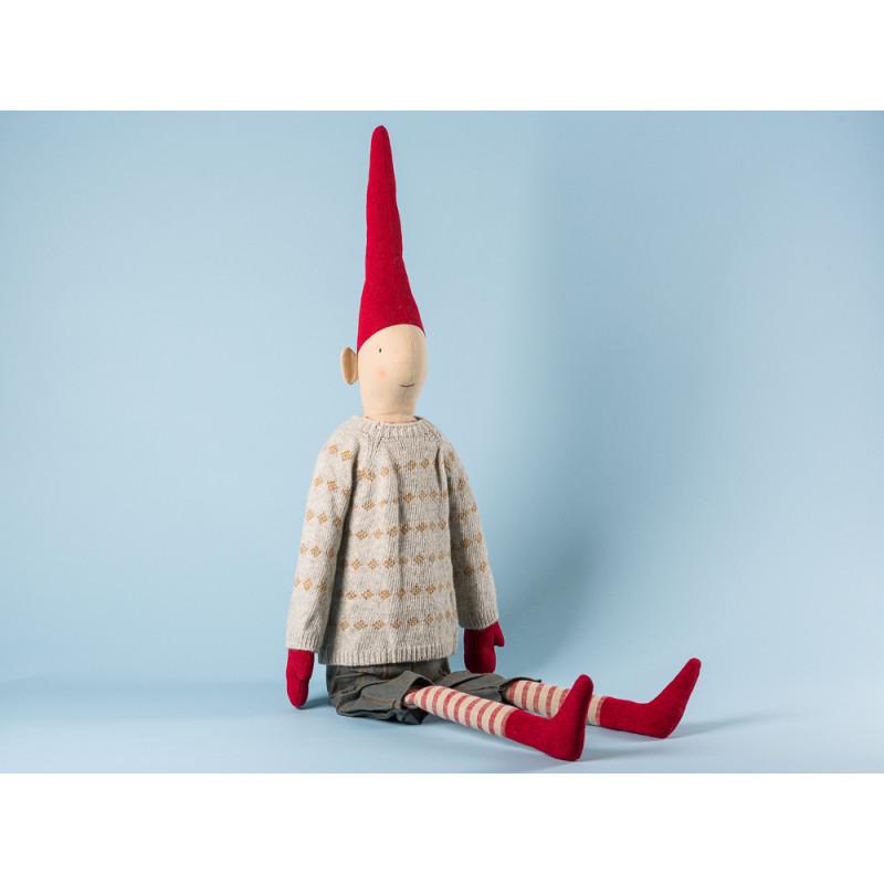 Maileg Wichtel Hopper Mega Pixy Junge im grauen Strick Pulli mit gelben Karos und kurzer Hose XXL Kuscheltier Weihnachtsdekoration 100 cm