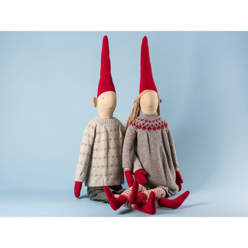 Maileg Wichtel Hopper und Holga Mega Pixy Junge und Maedchen XXL Kuscheltier Weihnachtsdekoration 100 cm