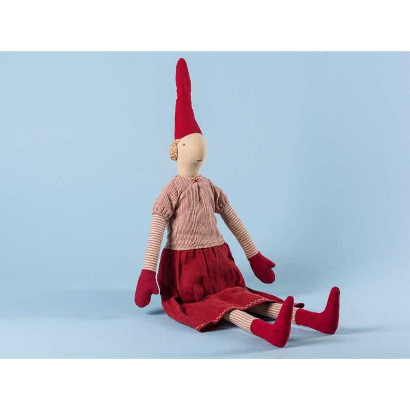 Maileg Wichtel Laura Maxi Pixy Mädchen im rot gestreiftem Kleid XL Kuscheltier Weihnachtsdekoration 62 cm