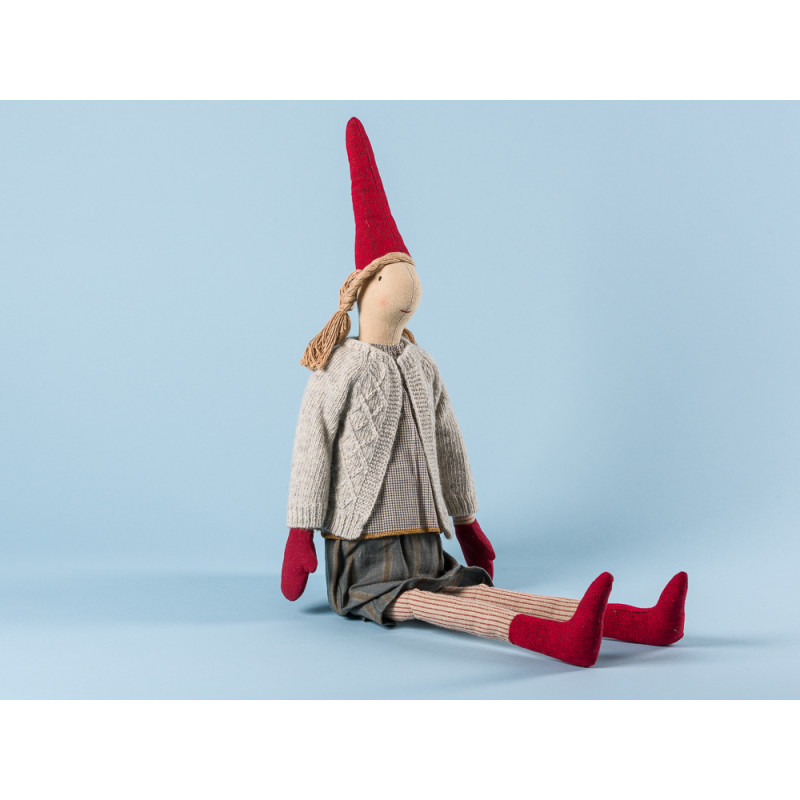 Maileg Wichtel Louise Maxi Pixy Mädchen mit hellgrauer Strickjacke und grauem Rock XL Kuscheltier Weihnachtsdekoration 62 cm